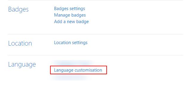 Language Customisation