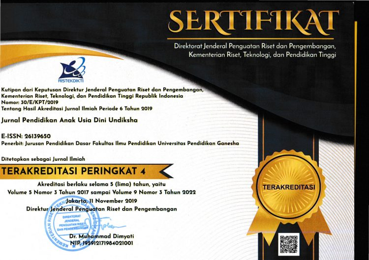 Sertifikat Akreditasi PAUD Undiksha SINTA 4