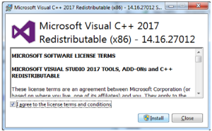 Gambar Install Microsoft Visual C++ Redistributable for Visual Studio 2017