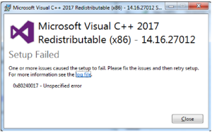 Gambar Install gagal Microsoft Visual C++ Redistributable for Visual Studio 2017
