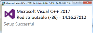 Gambar Install berhasil Microsoft Visual C++ Redistributable for Visual Studio 2017