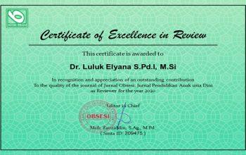 Sertifikat penghargaan Dr. Luluk Elyana S.Pd.I, M.Si