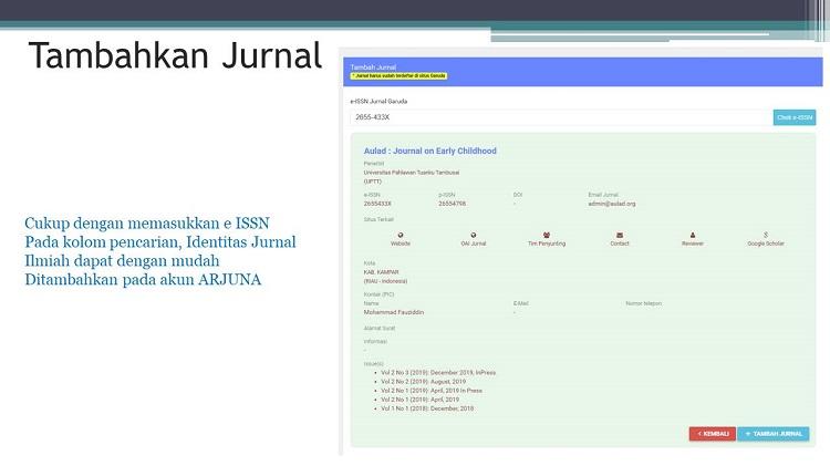 masukkan issn atau nama jurnal di kolom pencarian Garuda