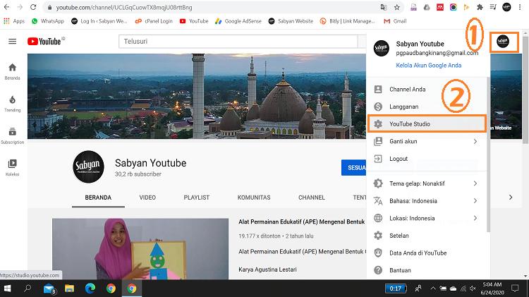 Login kemudian pilih Youtube Studio